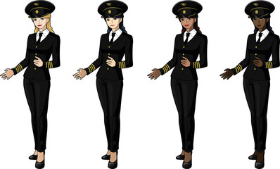 Set of 4 female airplane pilots in suits women of color