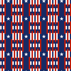 Seamless patterns with stars and Stripes - Ornamental Design American Flag style. Endless texture can be used for printing onto fabric and paper or scrap booking
