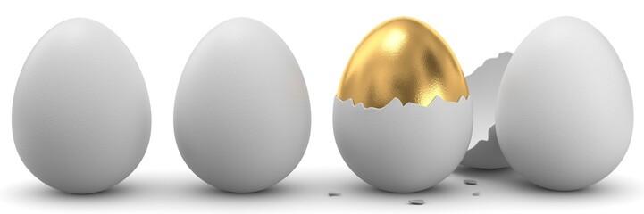 3d Eier und ein goldenes Ei