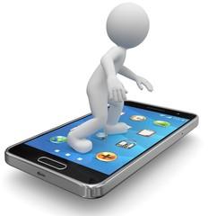 3d Männchen surft mit Smartphone