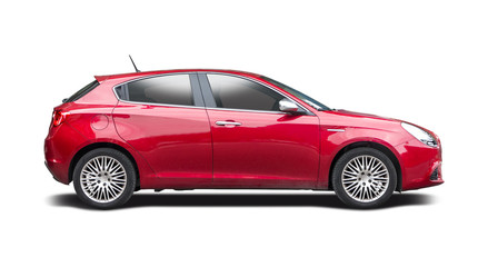 Italian hatchback car side view isolated on white