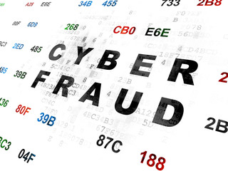 Protection concept: Cyber Fraud on Digital background
