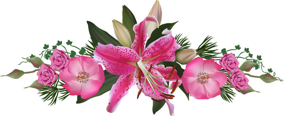 pink lily and rose flower stripe isolated on white