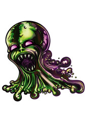 Slime monster. Illustration a mucus creature. He spills slime blobs