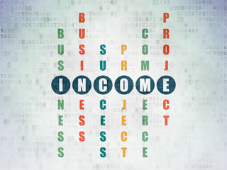 Business concept: word Income in solving Crossword Puzzle