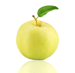 Yellow apple fruit with leaf isolate on white
