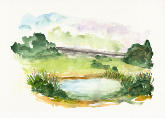 Nature landscape with blue lake on watercolor textured paper.