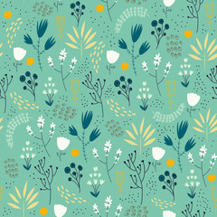 Vector seamless floral pattern. Romantic cute background with