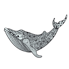 Zentangle stylized Blue Sea Whale. Hand Drawn vector illustratio