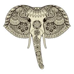 Zentangle stylized Indian Elephant. Hand Drawn vector illustrati