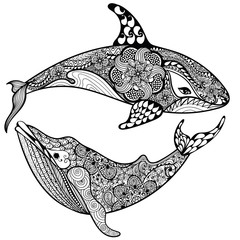 Zentangle stylized Sea Shark and Whale. Hand Drawn vector illust