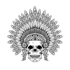 Hand Drawn Skull in zentangle Feathered War bonnet, high dataile