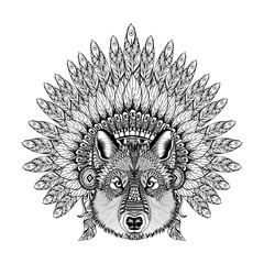 Hand Drawn Zentangle Wolf in Feathered War bonnet, high datailed