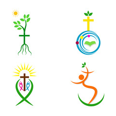 A vector drawing represents Christianity cross with holy bible globe fish tree people design.