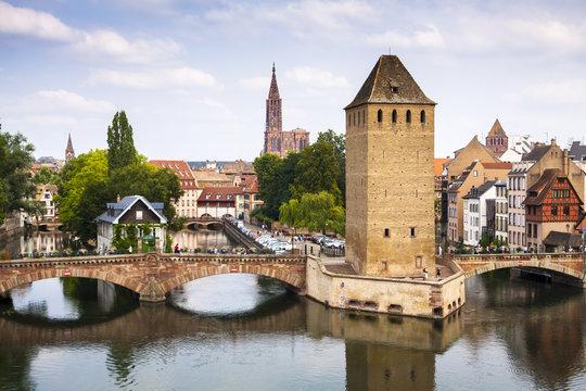 Old Strasbourg, medieval bridge Ponts Couverts. Alsace, France.