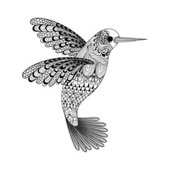 Zentangle stylized black Hummingbird. Hand Drawn vector illustra
