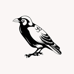 Black raven bird. Hand drawn doodle vector illustration.