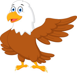 Happy eagle cartoon waving