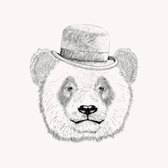 Sketch panda face with black bowler hat. Hand drawn vector illus