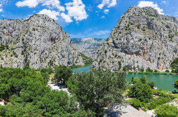 Panorama of the canyon of the river Cetina in Omis.