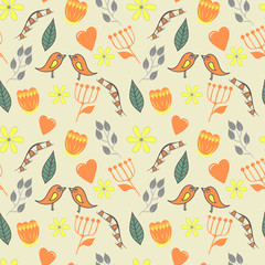 spring lovely seamless pattern with flovers and birds