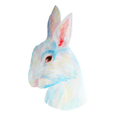 Watercolor white cute rabbit for Easter. Vector hand drawn illus