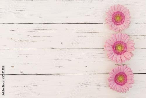 Holz Hintergrund Weiß Shabby Chic mit Rosa Blumen\