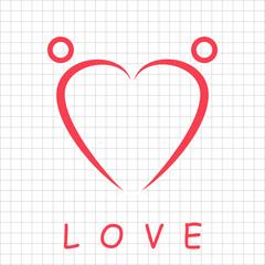 Two happy people formed heart shape