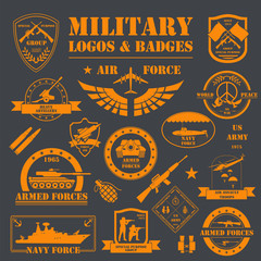 Military and armored vehicles logos and badges. Graphic template