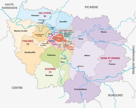 Ile-de-France administrative map