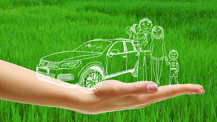 Vector image of happy family on hand, on green grass background