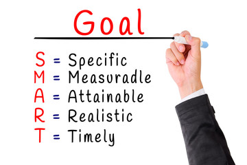 Hand writing smart goal isolate on white