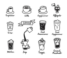 coffee cups handdraw outline stroke, coffee, vector illustration icon