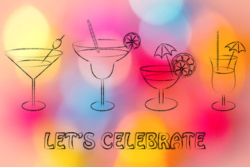 let's celebrate: cocktails and drink glasses