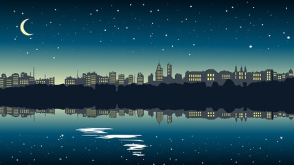 Silhouette of city at night with the moon and the stars that reflected in the water. Vector illustration.