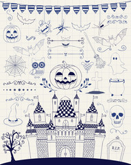 Vector Pen Drawing Hand Sketched Doodle Halloween Icons