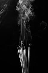Smoking incense(Black and white scene)