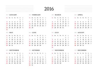 Calendar 2016. Vector Print Template. 12 Months. Week Starts Sunday