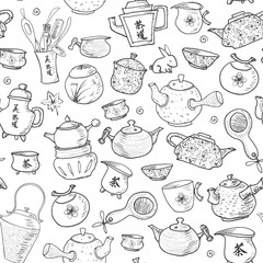 Seamless tea pattern with eastern teapots and cups
