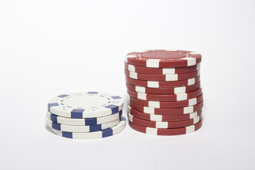 Poker chips.Red and White