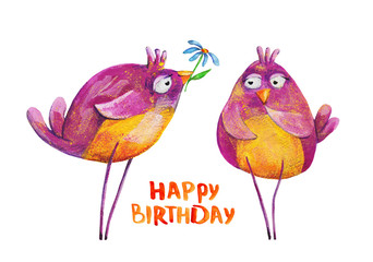 2 purple birds with flower. Birthday. Watercolor and gouache Illustration