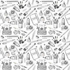 Seamless pattern with artist and writer tools.