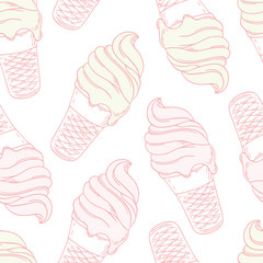 Twisted ice cream in a waffle cone. Stylized seamless pattern