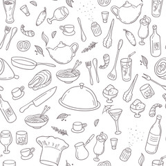 Food and drink outline seamless pattern. Hand drawn kitchen