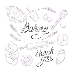 Bakery sketched illustrations in vector. Hand drawn groceries