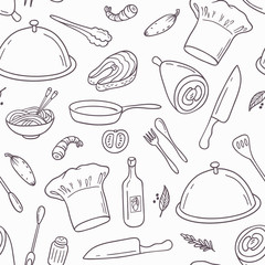 Outline seamless pattern with hand drawn food. Background in