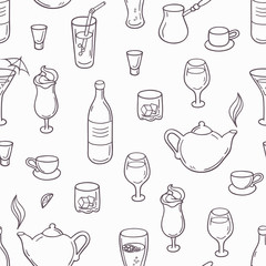 Seamless pattern with outline style drinks. Background with