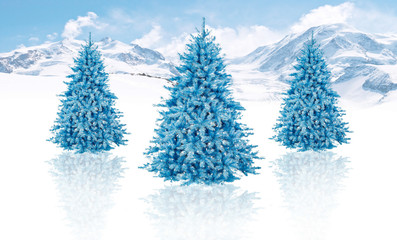 christmas tree in beautiful view background idea concept decorat