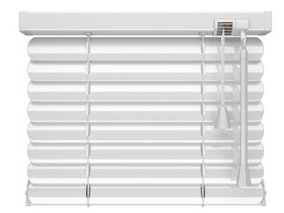 Closed white window blinds.