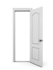 Open door on a white